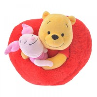 Disney Store Japan Valentine Winnie the Pooh & Piglet Heart Plush New with Tags