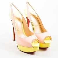 KUYOU Yellow and Pink Christian Louboutin Patent Leather  Lady  Platform Pumps