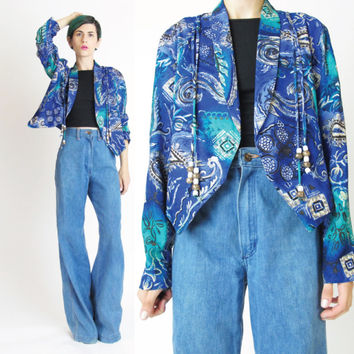 1980s Abstract Floral Print Jacket Cropped Blouse (M/L)