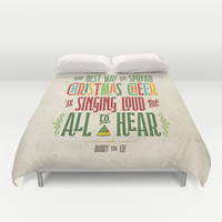 The Best Way to Spread Christmas Cheer is Singing Loud for All to Hear Duvet Cover by Noonday Design