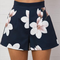 All-match Fashion Flower Print High Waist Shorts