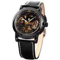 KS Men Luxury Skeleton Automatic Mechanical Black Leather Analog Sport Watch KS036