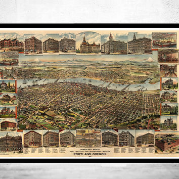 Portland Oregon 1892 Panoramic View Vintage