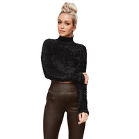 Women Knitted Fluffy Sweater Jumper Crop Top Turtle Neck Long Sleeve Mohair Slim Pullover Knitwear Sweater Mujer
