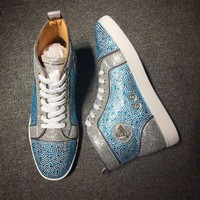 DCCK2 Cl Christian Louboutin Rhinestone Mid Strass Style #1918 Sneakers Fashion Shoes