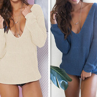 Fashion deep V knitted sweaters