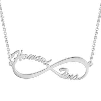 """Infinite Love -925 Sterling Silver Adjustable 16""""-20""""Personalized Name Necklace"""