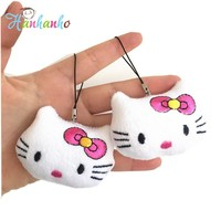1pcs Hello Kitty Plush Toy Small Pendant Kids Party Gift KT Doll Toy Keychain Rope String