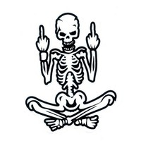 8 Inch Bad Boy Skeleton Giving the Middle Fingers Decal Sticker