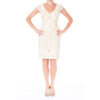 Sue Wong Womens Embellished Soutache Cocktail Dress