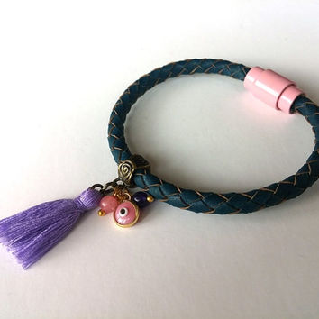 Tassel Bracelet,  Jewelry, Evil Eye Bracelet, Christmas Gift, Boho Chic, Pink, Leather Bracelet, Gift İdea, Purple Tassel, Fashionable