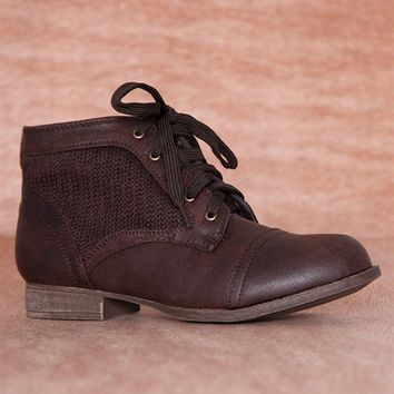 Refresh Cozy Crew Knit Sweater Panel Lace Up Boots Libby-09 - Brown