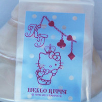 30 pcsTransparent Poly / Cello Ziplock Bags Sanrio Hello Kitty With Crown And Chain light blue