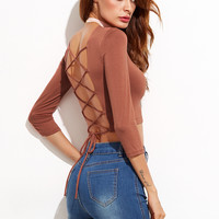 Lace Up Open Back Sexy Crop T-shirt