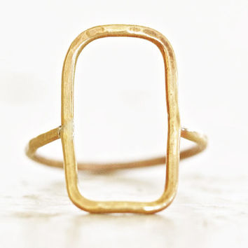 Gold Simple Rectangle Ring - ONE Hand Forged Slightly Hamemred Gold Open Rectangle Ring - Boho - Chic - Simple Jewelry - Spring Fashion