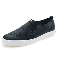 Leather Casual Shoes for Women Breathable Soft Women's Casual Shoes Black Footwear Flats Shoes