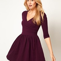 ASOS Skater Dress With Ballet Wrap and 3/4 Sleeve at asos.com