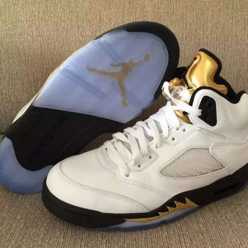 "Air Jordan 5 Retro ""Olympic"" Mens Basketball Shoes"