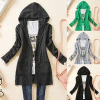 Spring Casual Long Sleeve Hooded Single Breasted Cotton Blends Plain Women's Knitted Sweater Outerwear