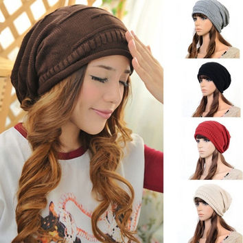 Fashion Women Men Winter Warm Baggy Beanie Knit Crochet Ski Cap Oversized Slouch Hat = 1958116036