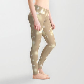 Store specail! Creamy golden leggings Stretch leggings Comfortable leggings Artistic cool style with amazing blur light spots in distance