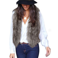 Women Vest Jacket Winter Faux Fur Sleeveless Coat Lady Outwear Long Hair Waistcoat Slim Short Fur Gilet Chaqueta de mujeres