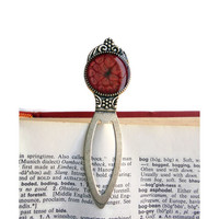 Vintage Style Bookmark, red bookmark, antique silver, book mark, metal bookmark, paper clip, fancy bookmark, book jewelry, book lovers gift