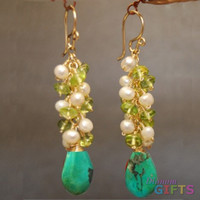 """Clusters of ivory pearls, peridot, and turquoise, 2"""" Earring Gold Or Silver"""