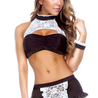 Halter Bandeau Top and Ruffled Skirt Bottom with Floral Lace Accent Maid Costume