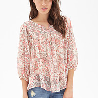 LOVE 21 Pintucked Floral Print Top Ivory/Coral