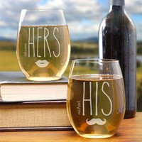 Personalized Engraved His & Hers Stemless Wine Glasses