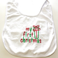 Christmas Baby Bib Boy or Girl My First Christmas Made to Order