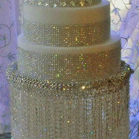 Wedding Cake Stand/ Chandelier Water Fall Iridescent Beads, Crystal Waterfall Cake is a spectacular complement to your crystal theme.