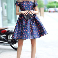 Navy Blue Printed Dress