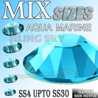 Mix Sizes Aqua Marine Blue Nail Art Rhinestones SS4 SS6 SS8 SS10 SS12 SS16 SS20 SS30 for DIY strass glitters Non HotFix crystals
