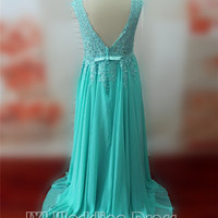 Handmade Plus Size Evening Dress Prom Gown with Lace and Sash Vestido de festa