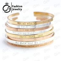 2016 Stainless Steel Bar Engraved Positive Inspirational Quote Cuff Mantra Bracelet Bangle for women (COLOR: GOLD)