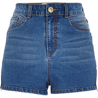 River Island Womens Mid wash high waisted Nori denim shorts