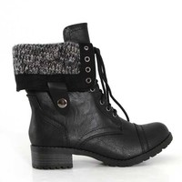 Soda Shoes Oracle Black Combat Boots for Women ORACLE-S BLACK