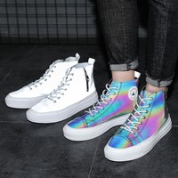 Fashionable chameleon reflective high upper board shoes new style men's shoe canvas Korean sports casual board shoes