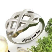 """Promise Ring Double Infinity Ring """"Infinity Pure Love"""" Best Gift for Girlfriend"""
