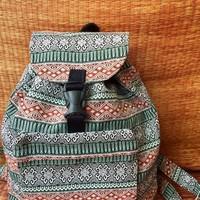 Festival Backpack Ethnic Ikat Travel Trip School Overnight Bag Hippie Bohemian Boho chic Tribal Styles Woven Fabric Unique gift Men women