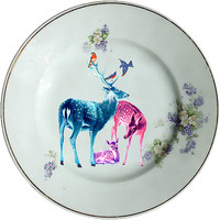 Family of Deers Plate - Altered Antique Porcelain Plate