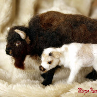 needle felting animal buffalo bison mother and calf legend of the white calf