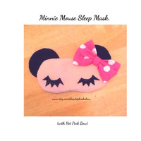 Back in Stock. Minnie Mouse Spa Eye Mask for kids, girls, teens, women. Hot Pink Bow. Sick day naps in style, tumblr  Disney