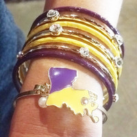 GAME DAY BLING BANGLE PURPLE/YELLOW