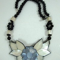 Vintage Lee Sands Flower Mother of Pearl Inlay Necklace