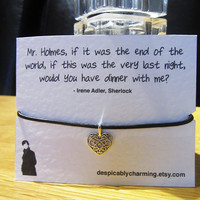 Sherlock Irene Adler Brown Leather cord friendship wish bracelet with silver plated heart charm mounted on high quality 300gsm quote card