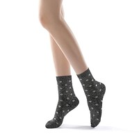 Polka Party Glitter Ankle Sock | Black