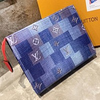 LV Louis Vuitton Fashion New Monogram Multicolor Tartan Leather Shoulder Bag Women Clutch Bag